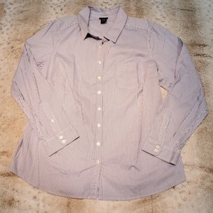Torrid Blue and White Striped Button Down Size 2X
